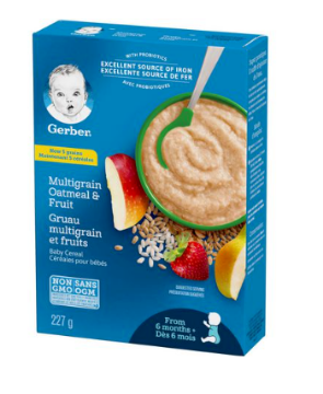 Picture of GERBER Stage 2 Multigrain Oatmeal & Fruit Baby Cereal