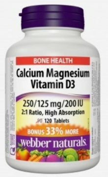 Picture of Webber Naturals Calcium, Magnesium with Vitamin D3, 120caplets (250/125mg)