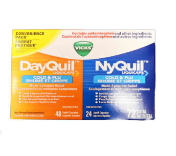 Picture of Vicks NyQuil Cold % Flu Rhume ET Grippe 72 total