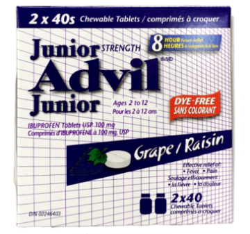 Picture of Junior Advil 2-12ages 2*40 chewable Tablets