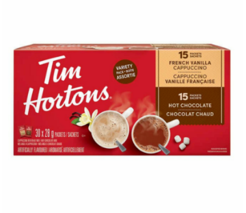 Picture of Tim Hortons French Vanilla Cappuccino + Hot Chocolate Powder 28g X 30 Packs